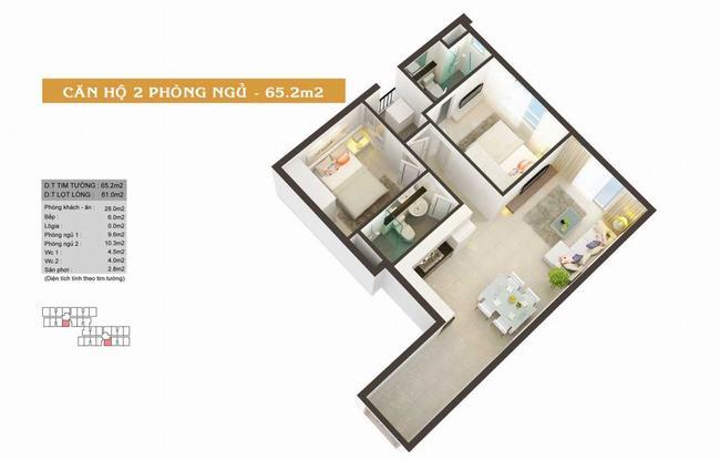 Mặt bằng căn hộ 65,2m2 - High Intela